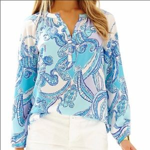 Lilly Pulitzer Elsie Searulean Silk Blouse Size L